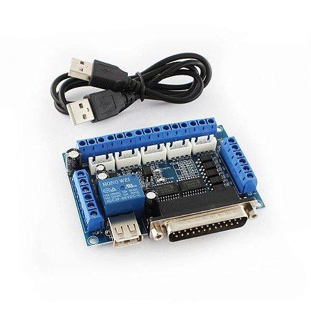 Controladora de CNC Interface Mach 3 Router Até 5 Eixos - 74HC + Cabo Usb