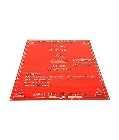 Mesa Aquecida PCB 1,6mm Mk2b - Vermelha (sem cabos)