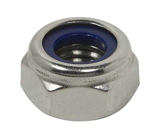 Porca Sextavada Auto-Travante - DIN 985 - M8 - 1,25 - Aço Inox