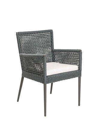 Cadeira Siena de Corda Náutica Cinza com braço em Alumínio Pintado