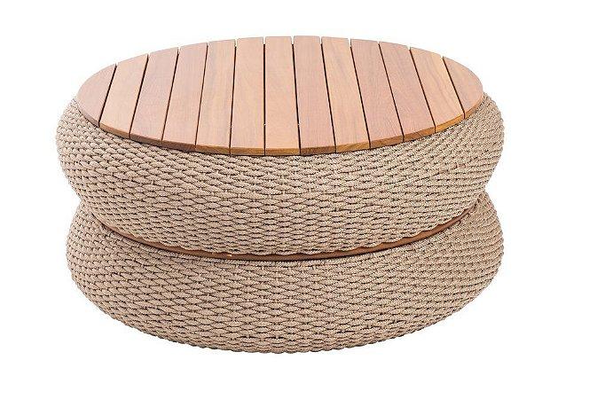 Mesa de centro Bari aluminio pintado champanhe e corda náutica rami tampo em madeira cumaru ripado
