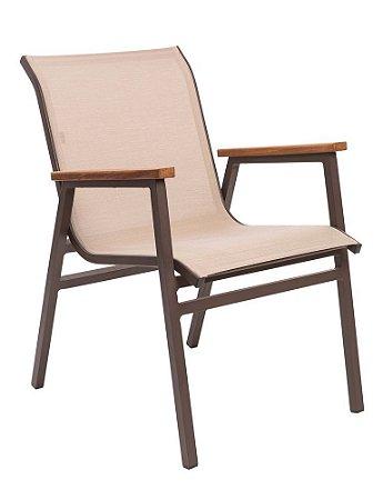 Cadeira Itapoá alumínio pintado marrom e tela sling ISO bege