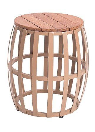 Mesa lateral Flórida em Alumínio Pintado com tampo em madeira Cumaru