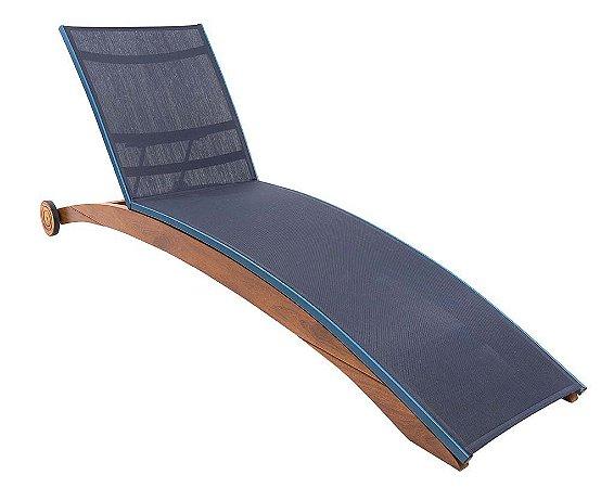 Espreguiçadeira Fly reclinável madeira Cumaru com rodinhas e tela sling ISO azul