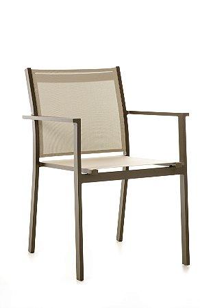 Cadeira Texas Alumínio Marrom com Tela Bege