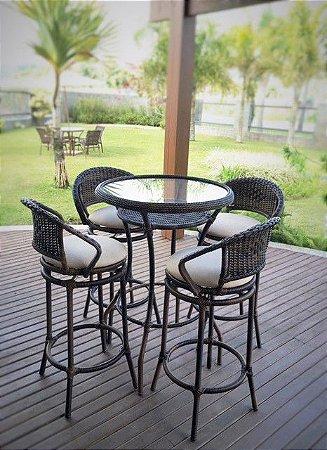 Conjunto com 1 mesa bistrô com vidro embutido D70 e 4 banquetas Arco Balena aço galvanizado revestido e fibra sintética argila
