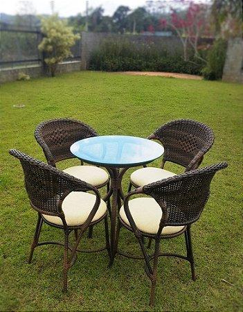 Conjunto com 1 mesa Caruna D60 e 04 cadeiras Arco Balena alumínio revestido e fibra sintética