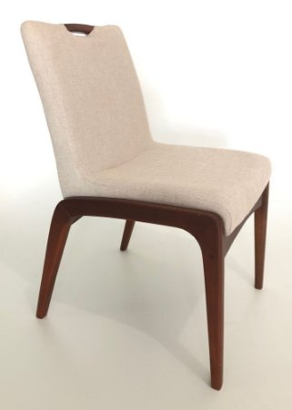 Conjunto com 8 cadeiras Zakia madeira Jequitibá mogno colonial com assento e encosto estofados