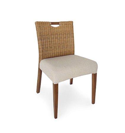 Conjunto com 4 cadeiras London Naturali sem braços madeira Jequitibá castanho e Junco natural com assento estofado