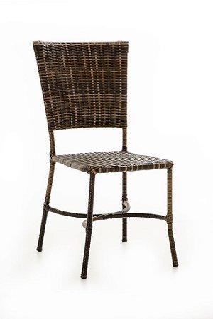 Cadeira Básica alumínio revestido e fibra sintética argila assento tramado