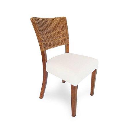 Cadeira Marta Rocha madeira Jequitibá colonial com encosto em Junco natural e assento estofado