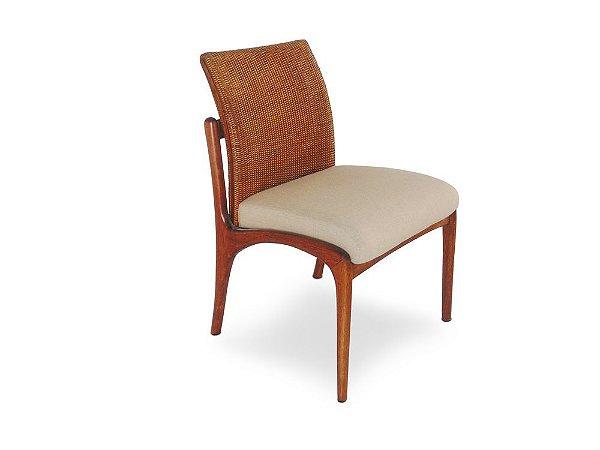 Cadeira Nice sem braços madeira Jequitibá fênix com encosto em palha italiana e assento estofado