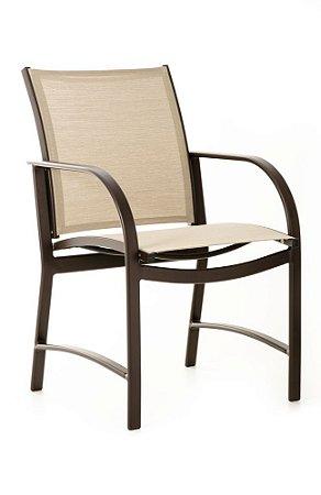 Cadeira Ferrara alumínio pintado marrom e tela sling ISO bege