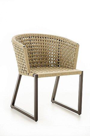 Cadeira Minas Alumínio Marrom com Corda Náutica Bege