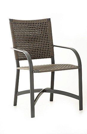 Cadeira Carol Alumínio Grafite com Fibra Sintética Cobalto