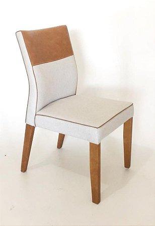 Conjunto com 6 cadeiras Mista em Madeira e Estofadas