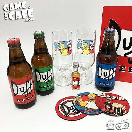 Kit 3 Duff Beer + Mini Cachaça + 2 Taças