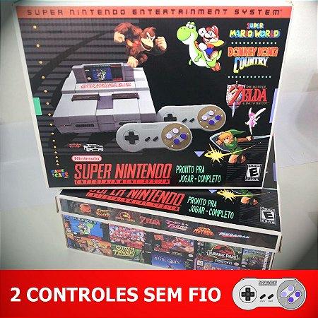 Super Nintendo Retro 10.000 Jogos com 2 Controles Sem Fio