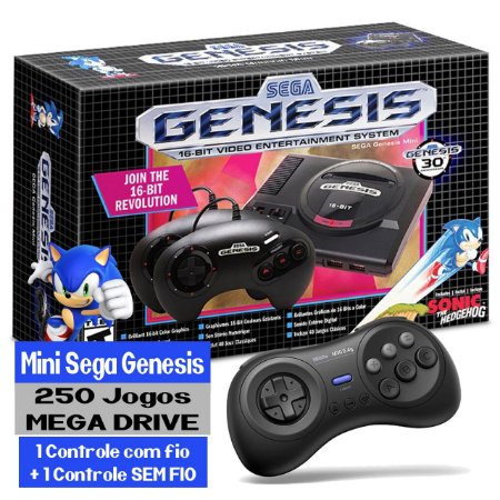 Mini Sega Genesis + Controle Sem Fio