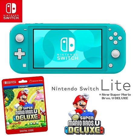 Nintendo Switch Lite Blue + New Super Mario Bros U