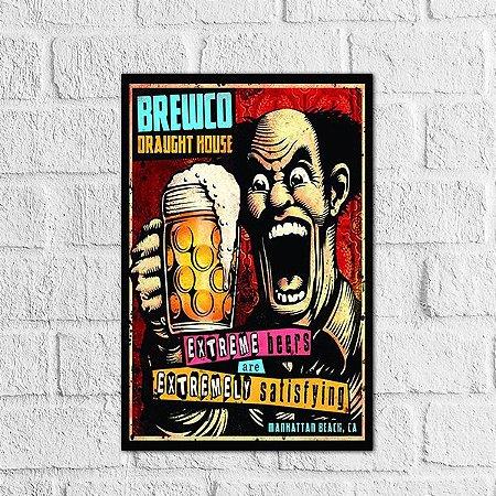 Placa Decorativa Brewco Draught House Criarte Placas