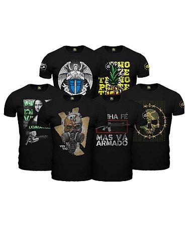 Kit Tático 6 Camisetas Militares Masculinas Explosion