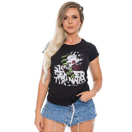 Camiseta Militar Baby Look Vidi Vici Sic Semper Tyrannis e Assim Erradico os Tiranos Team Six