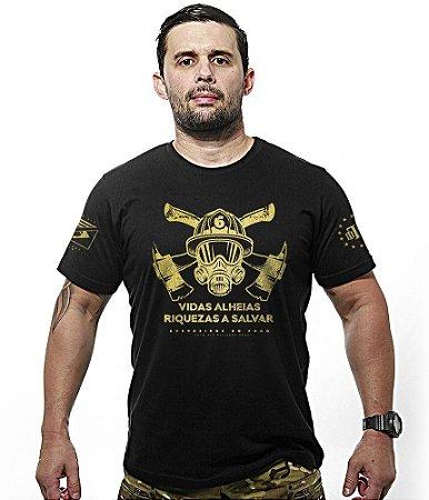 Camiseta Bombeiros Vidas Alheias Riquezas a Salvar Gold Line