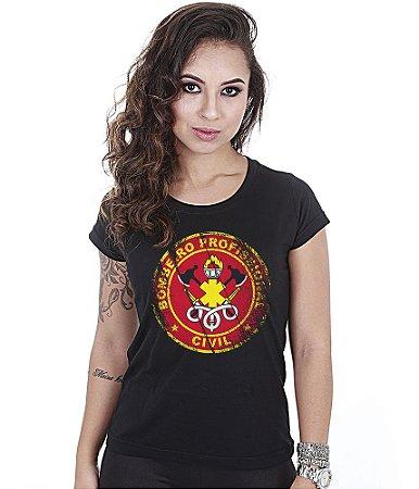 Camiseta Militar Baby Look Feminina Bombeiro Civil Profissional