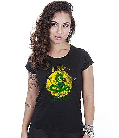 Camiseta Militar Baby Look Feminina FEB Do Brasil