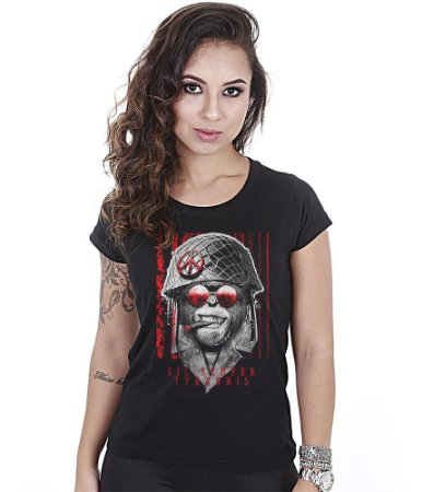 Camiseta Militar Baby Look Feminina Sic Semper Tyrannis