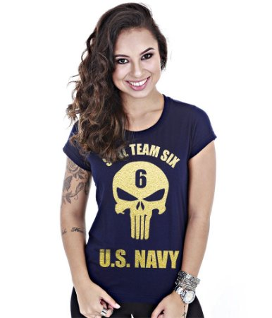 Camiseta Baby Look Feminina Punisher Seal Team Gold Line