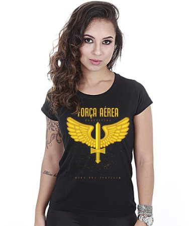 Camiseta Baby Look Feminina Força Aérea Brasileira