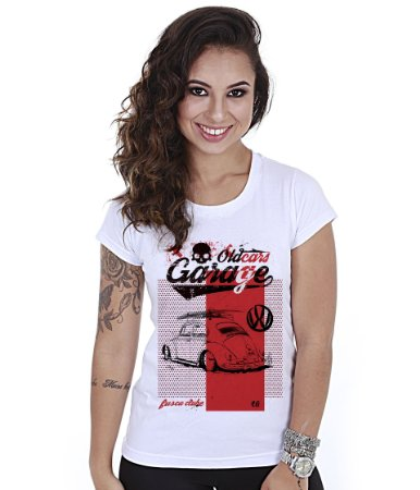 Camiseta Baby Look Feminina Old Car Fusca Garage