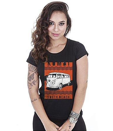 Camiseta Baby Look Feminina Old Car Kombi South Beach