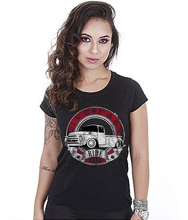 Camiseta Baby Look Feminina Old Car Pickup Live Fast
