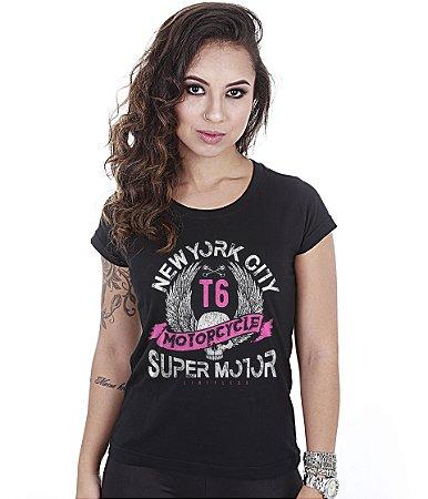 Camiseta Baby Look Feminina Motorcycle Super Motor