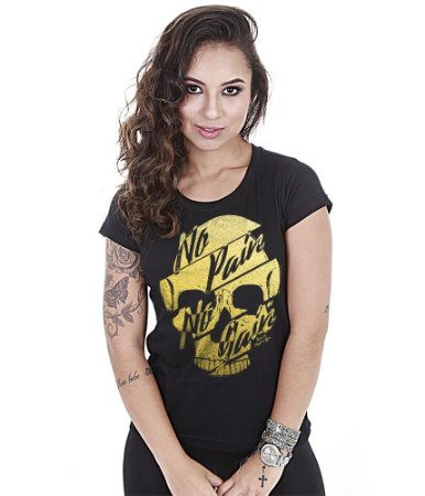 Camiseta Baby Look Feminina No Pain No Gain Old Skull