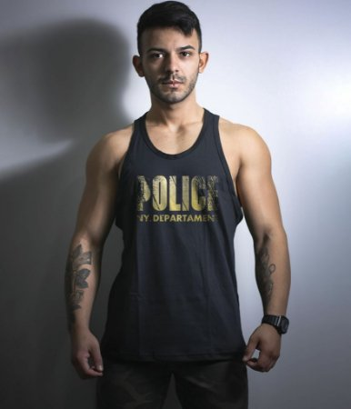 Camiseta Regata Militar Gold Line Police NY Department