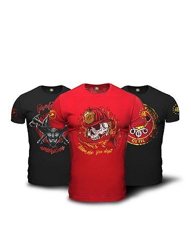 Kit 3 Camisetas Bombeiro Firefighter