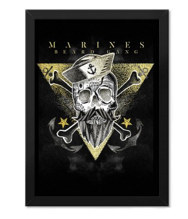 Poster com Moldura Militar Marines Beard Gang