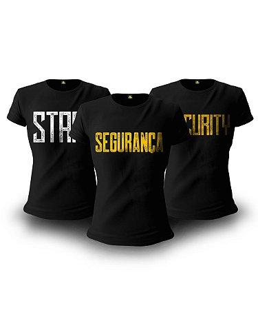 Kit 3 Camisetas Baby look Femininas Militares Segurança