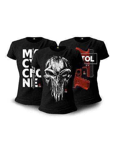 Kit 3 Camisetas Baby Look Femininas Militares GUFZ6 Punisher Skull