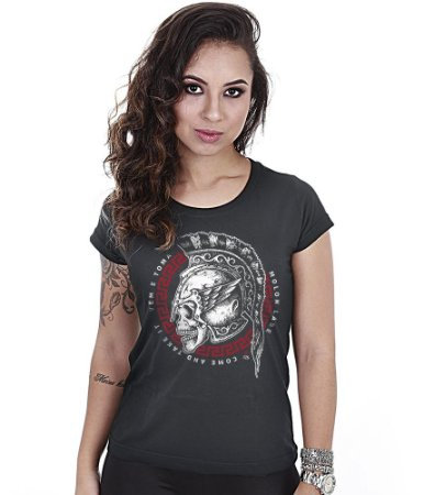 Camiseta Baby Look Feminina Squad T6 GUFZ6 Molon Labe Come And Take It