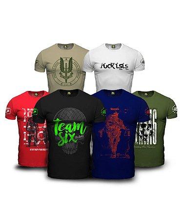 Kit 6 Camisetas Militares Masculinas Lendário