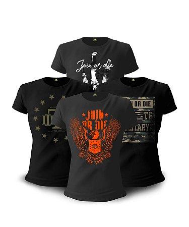 Kit 4 Camisetas Militares Femininas Baby Look Concept Line Join Or Die