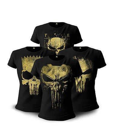 Kit 4 Camisetas Militares Baby Look Femininas Gold Line Justiceiro