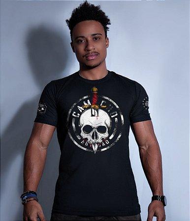 Camiseta Militar Squad T6 Camacho Artesão Faca na Caveira Tributo ao Bope