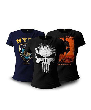Kit 3 Camisetas Militares Baby Look Feminina Guerreiro