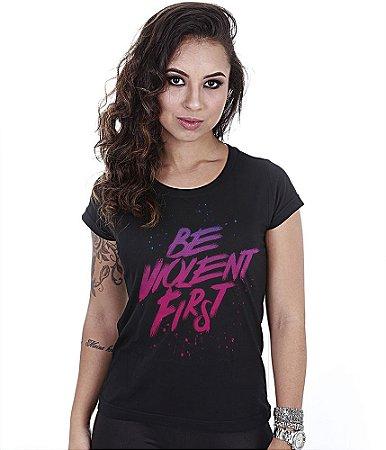 Camiseta Militar Baby Look Feminina Be Violent First Team Six